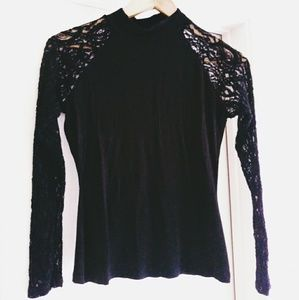 Forever 21 sheer lace top turtles neck black